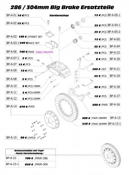 D2 Racing / K-Sport / XYZ 286 / 304mm 6pot Bremsanlagen Zubehör Artikel