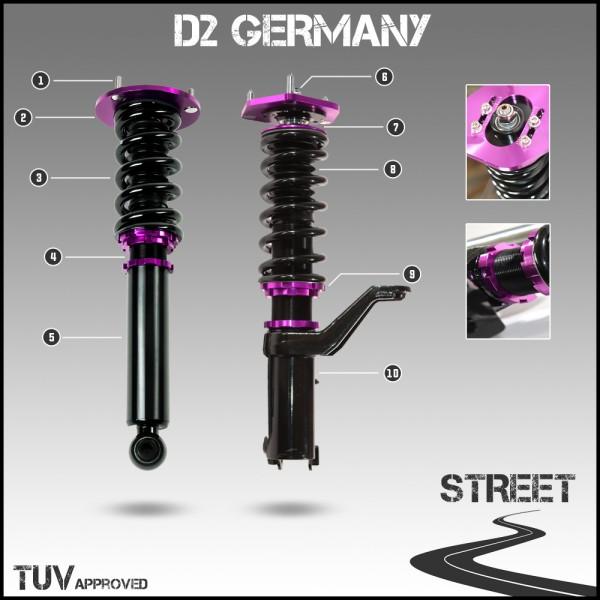 D2 Germany Gewindefahrwerk STREET - Nissan Cube Z10 1998-02