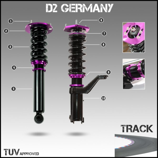 D2 Germany Gewindefahrwerk TRACK - Honda NSX NA1